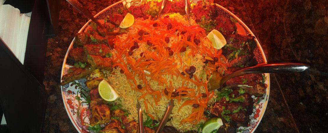 Family size kabob plate, lamb kabob, chicken, beef, afghani food